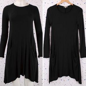 Long Sleeve Princess line Tunic Dress Pockets Blk